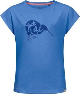 Niebieska koszulka dziecięca Jack Wolfskin w kwiatki