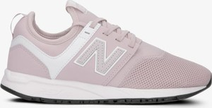 Różowe buty sportowe New Balance w sportowym stylu sznurowane na koturnie