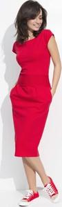 Czerwona sukienka Makadamia z krótkim rękawem z bawełny