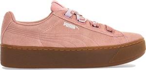 Różowe trampki Puma z zamszu vikky na platformie