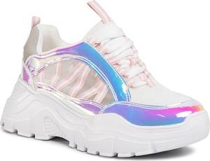 Srebrne buty sportowe eobuwie.pl na platformie
