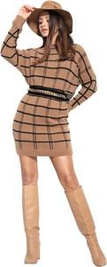 Sukienka Fobya z długim rękawem mini z żakardu