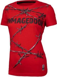 Czerwony t-shirt Pit Bull z okrągłym dekoltem z bawełny z krótkim rękawem