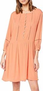 Różowa sukienka amazon.de z długim rękawem mini w stylu casual