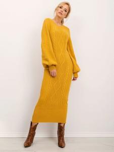 Żółta sukienka Sheandher.pl z długim rękawem maxi