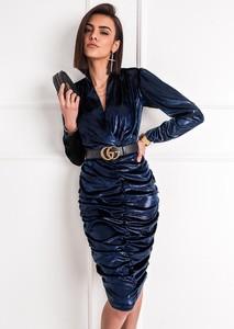 Granatowa sukienka SELFIEROOM z długim rękawem midi