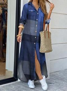 Niebieska sukienka Cikelly w stylu casual z kołnierzykiem z długim rękawem