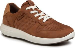 Brązowe buty sportowe Ecco sznurowane z nubuku