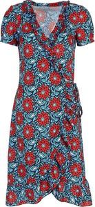Niebieska sukienka Nife z dekoltem w kształcie litery v z krótkim rękawem