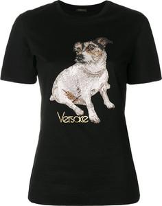 Czarna bluzka Versace w młodzieżowym stylu