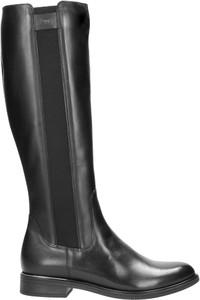Czarne kozaki Wojas ze skóry z płaską podeszwą przed kolano