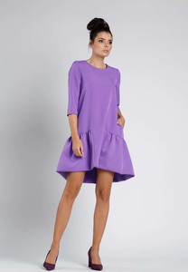 Fioletowa sukienka Nommo z długim rękawem w stylu klasycznym mini