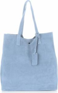 Pojemnie torebki skórzanej z wysokiej jakości zamszu naturalnego vittoria gotti błękitne