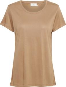 Brązowy t-shirt Kaffe z krótkim rękawem z okrągłym dekoltem
