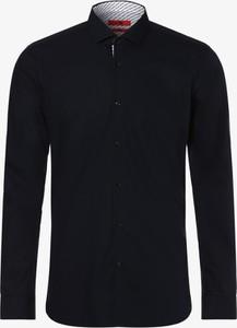 Czarna koszula Hugo Boss z włoskim kołnierzykiem z długim rękawem