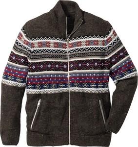 Szary sweter bonprix bpc selection w geometryczne wzory