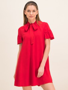 Czerwona sukienka Red Valentino w stylu casual mini z żabotem