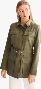 Zielona marynarka Yessica Premium w militarnym stylu z lnu