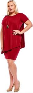 Czerwona sukienka Fokus oversize z krótkim rękawem
