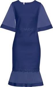 Sukienka bonprix BODYFLIRT boutique z krótkim rękawem midi z okrągłym dekoltem