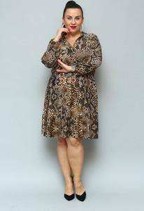 Sukienka KARKO z tkaniny midi z długim rękawem