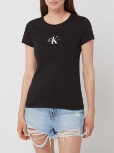 Czarny t-shirt Calvin Klein z okrągłym dekoltem z krótkim rękawem z bawełny