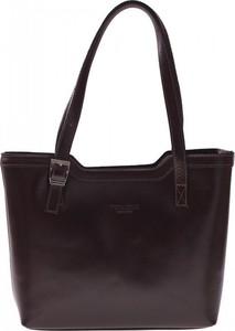 Brązowa torebka Vera Pelle ze skóry duża w stylu casual