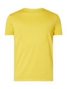 Żółty t-shirt Armani Jeans z krótkim rękawem z bawełny z nadrukiem