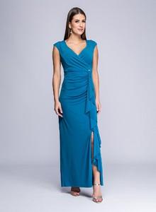 Niebieska sukienka Semper z dekoltem w kształcie litery v maxi