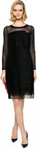 Czarna sukienka L'AF z okrągłym dekoltem z długim rękawem