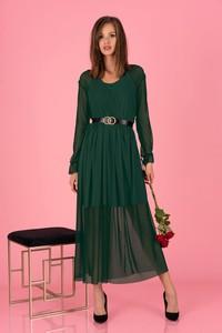 Zielona sukienka MERRIBEL z długim rękawem z szyfonu