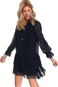 Granatowa sukienka Top Secret z długim rękawem z tiulu