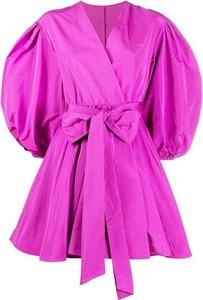 Różowa sukienka Valentino mini z długim rękawem