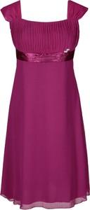 Fioletowa sukienka Fokus midi rozkloszowana