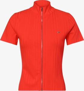 Czerwony t-shirt Tommy Jeans w stylu casual z dżerseju z golfem