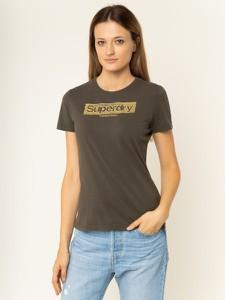 Brązowy t-shirt Superdry z okrągłym dekoltem z krótkim rękawem