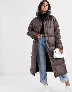 Brązowy płaszcz Asos ze skóry ekologicznej