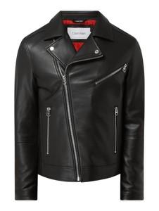 Czarna kurtka Calvin Klein w stylu casual ze skóry ekologicznej