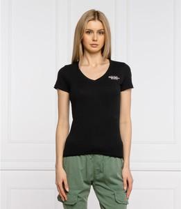 Czarny t-shirt Pepe Jeans z krótkim rękawem z okrągłym dekoltem