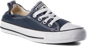 Niebieskie trampki Converse z płaską podeszwą sznurowane niskie
