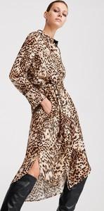 Brązowa sukienka Reserved szmizjerka midi