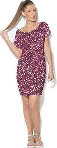Fioletowa sukienka COLOUR PLEASURE z okrągłym dekoltem midi z krótkim rękawem