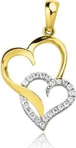 Hosa Złota zawieszka dwa serca z cyrkoniami (łączone złoto)