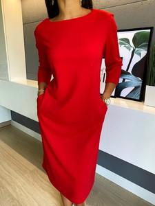 Czerwona sukienka ModnaKiecka.pl z długim rękawem w stylu casual