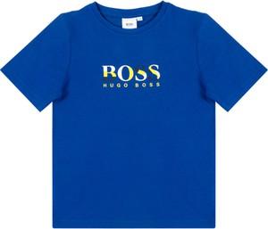 Niebieska koszulka dziecięca Hugo Boss z krótkim rękawem