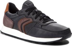 Czarne buty sportowe Geox ze skóry ekologicznej