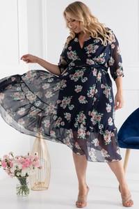 Sukienka KARKO z długim rękawem trapezowa z tkaniny