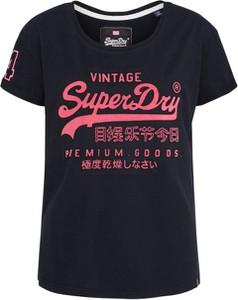 Granatowa bluzka Superdry z dżerseju w młodzieżowym stylu