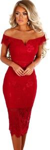 Czerwona sukienka elegrina midi z krótkim rękawem