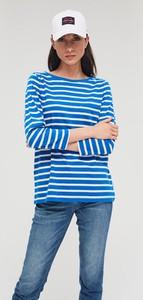Niebieska bluzka Diverse z okrągłym dekoltem z długim rękawem w stylu casual